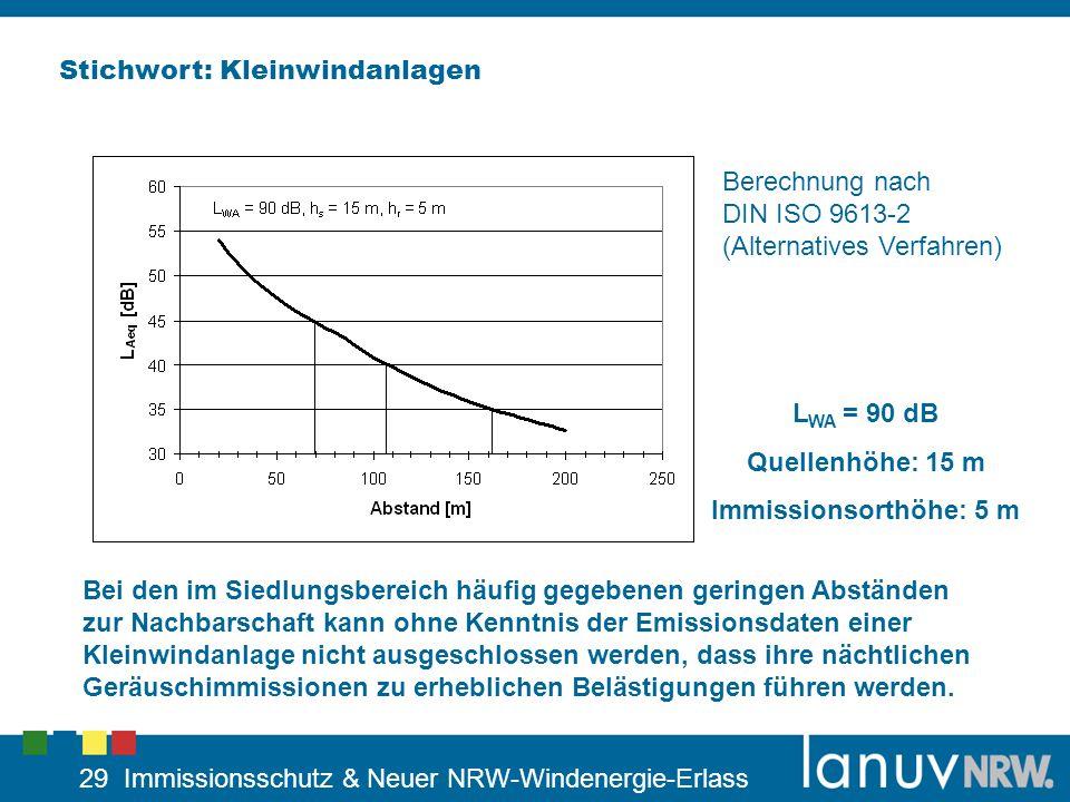 29 Immissionsschutz & Neuer NRW-Windenergie-Erlass Stichwort: Kleinwindanlagen L WA = 90 dB Quellenhöhe: 15 m Immissionsorthöhe: 5 m Bei den im Siedlu