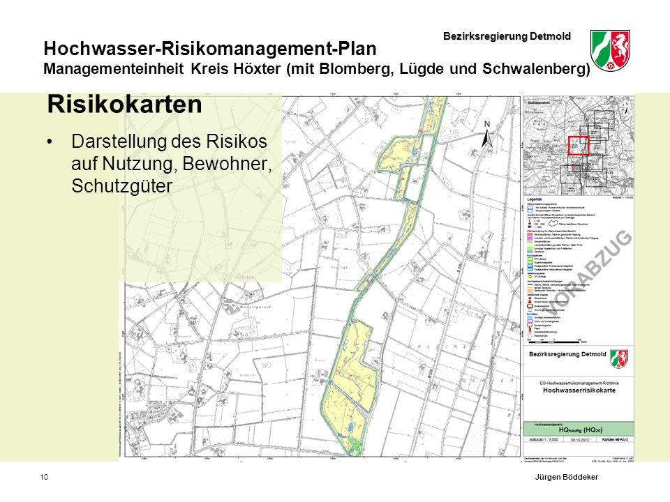 Bezirksregierung Detmold Hochwasser-Risikomanagement-Plan Managementeinheit Kreis Höxter (mit Blomberg, Lügde und Schwalenberg) 10 Risikokarten Darste