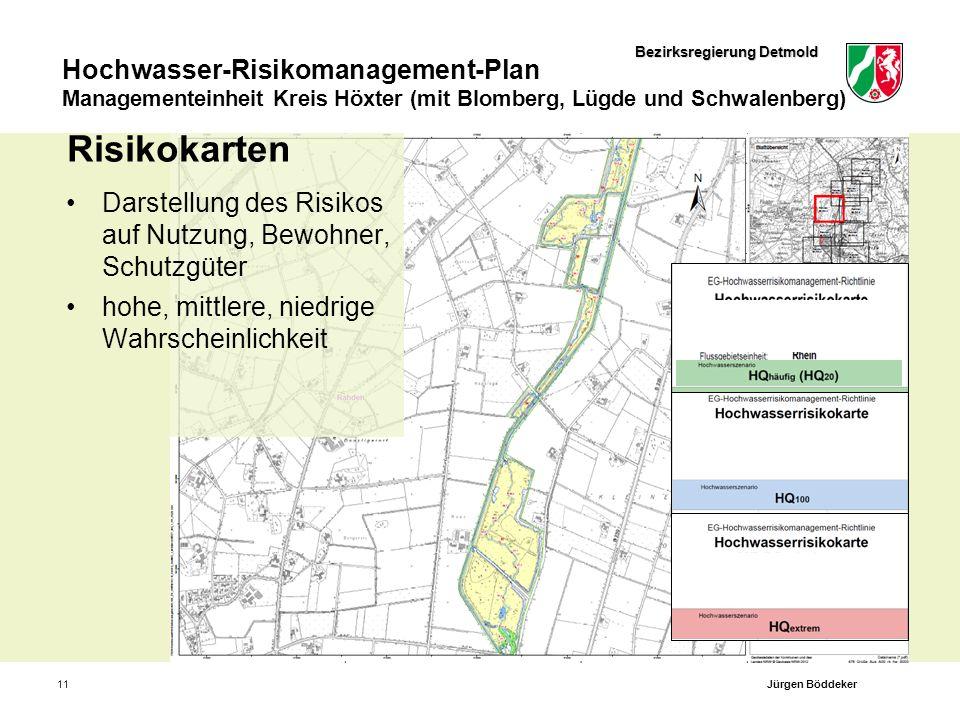 Bezirksregierung Detmold Hochwasser-Risikomanagement-Plan Managementeinheit Kreis Höxter (mit Blomberg, Lügde und Schwalenberg) 11 Risikokarten Darste