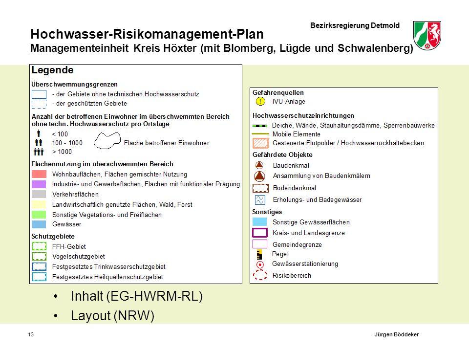 Bezirksregierung Detmold Hochwasser-Risikomanagement-Plan Managementeinheit Kreis Höxter (mit Blomberg, Lügde und Schwalenberg) 13 Inhalt (EG-HWRM-RL)