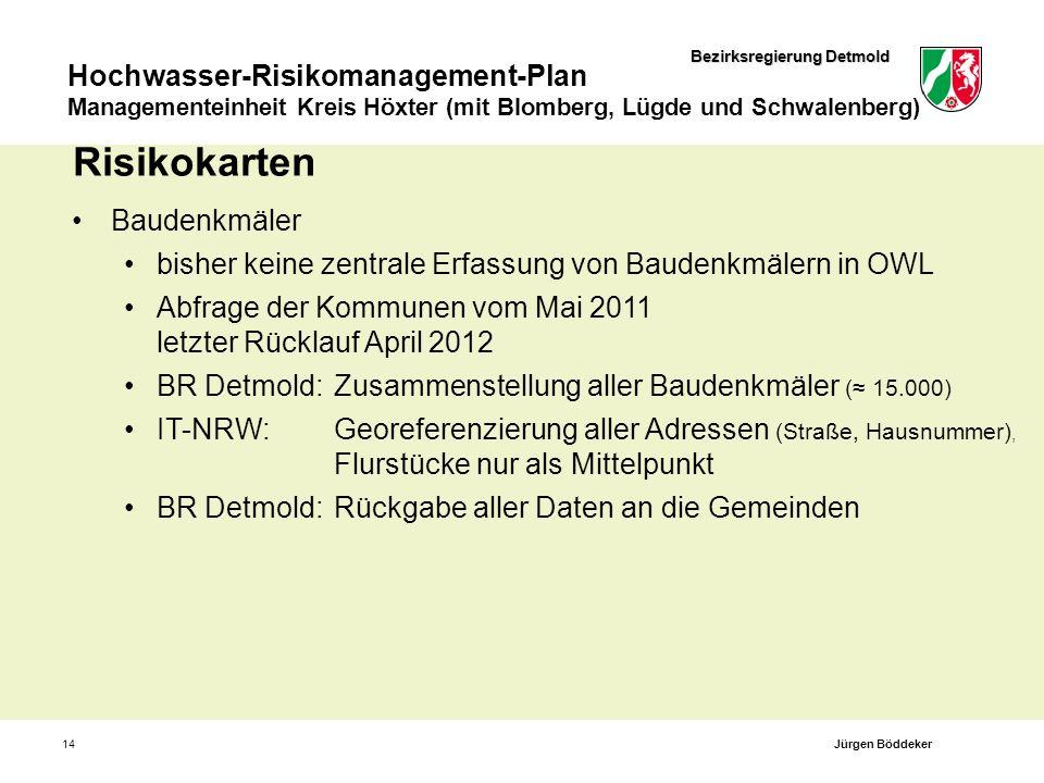 Bezirksregierung Detmold Hochwasser-Risikomanagement-Plan Managementeinheit Kreis Höxter (mit Blomberg, Lügde und Schwalenberg) 14 Risikokarten Bauden