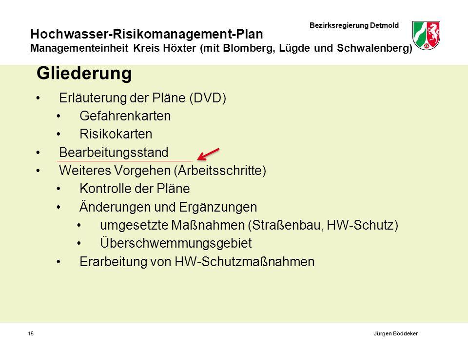 Bezirksregierung Detmold Hochwasser-Risikomanagement-Plan Managementeinheit Kreis Höxter (mit Blomberg, Lügde und Schwalenberg) 15 Gliederung Erläuter