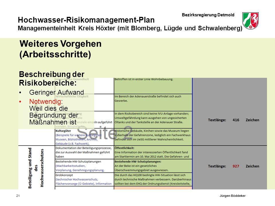 Bezirksregierung Detmold Hochwasser-Risikomanagement-Plan Managementeinheit Kreis Höxter (mit Blomberg, Lügde und Schwalenberg) 21 Beschreibung der Ri
