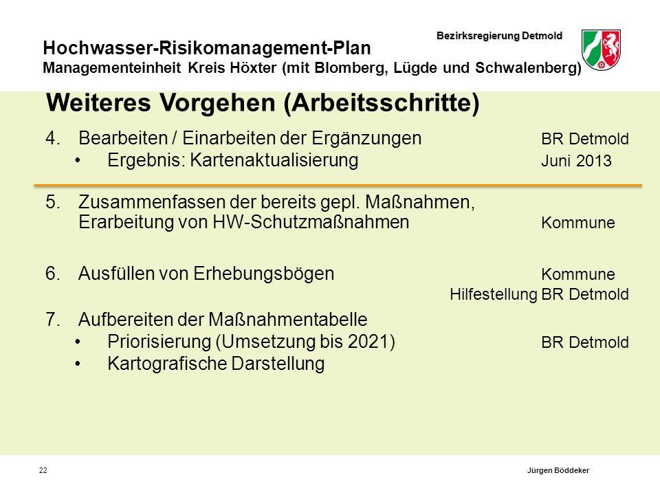 Bezirksregierung Detmold Hochwasser-Risikomanagement-Plan Managementeinheit Kreis Höxter (mit Blomberg, Lügde und Schwalenberg) 22 Weiteres Vorgehen (