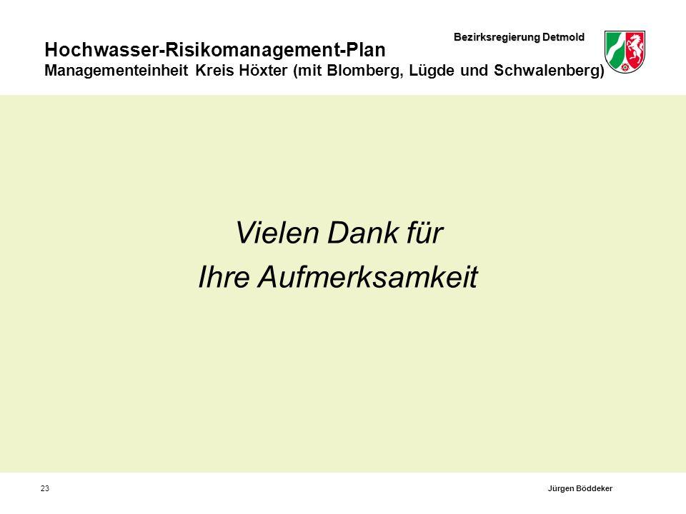 Bezirksregierung Detmold Hochwasser-Risikomanagement-Plan Managementeinheit Kreis Höxter (mit Blomberg, Lügde und Schwalenberg) 23 Vielen Dank für Ihr