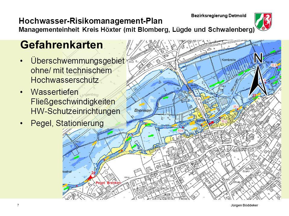 Bezirksregierung Detmold Hochwasser-Risikomanagement-Plan Managementeinheit Kreis Höxter (mit Blomberg, Lügde und Schwalenberg) 7 Gefahrenkarten Übers