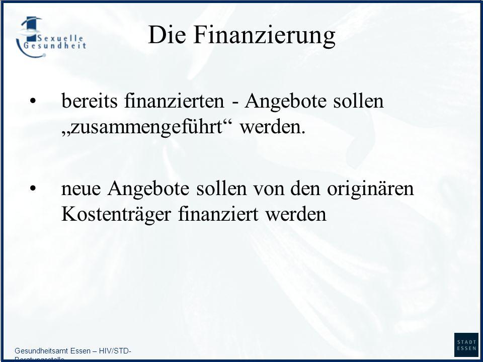 Gesundheitsamt Essen – HIV/STD- Beratungsstelle Die Finanzierung bereits finanzierten - Angebote sollen zusammengeführt werden. neue Angebote sollen v