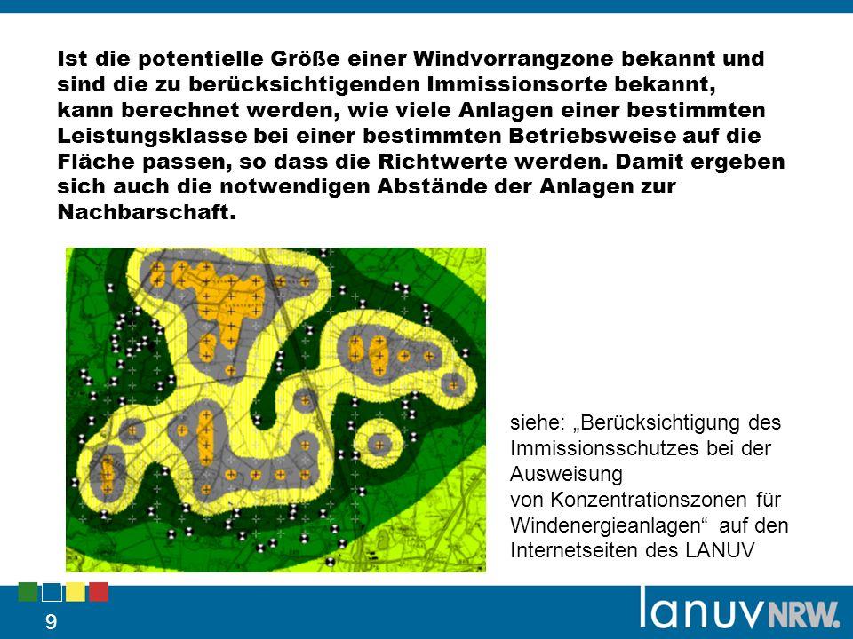 9 siehe: Berücksichtigung des Immissionsschutzes bei der Ausweisung von Konzentrationszonen für Windenergieanlagen auf den Internetseiten des LANUV Is