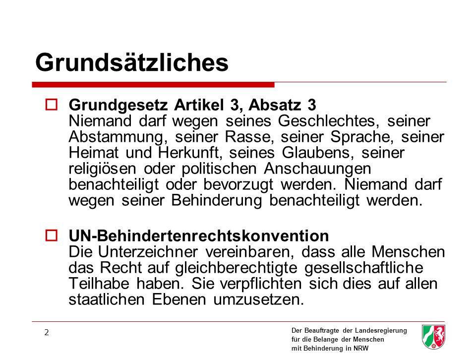 Der Beauftragte der Landesregierung für die Belange der Menschen mit Behinderung in NRW 2 Grundsätzliches Grundgesetz Artikel 3, Absatz 3 Niemand darf