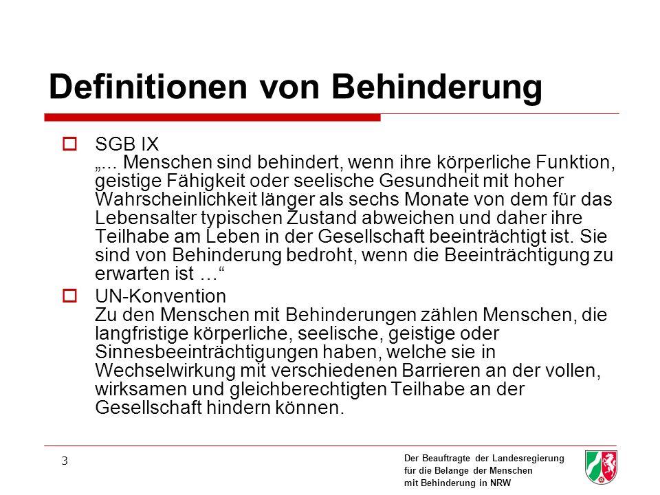 Der Beauftragte der Landesregierung für die Belange der Menschen mit Behinderung in NRW 3 Definitionen von Behinderung SGB IX... Menschen sind behinde