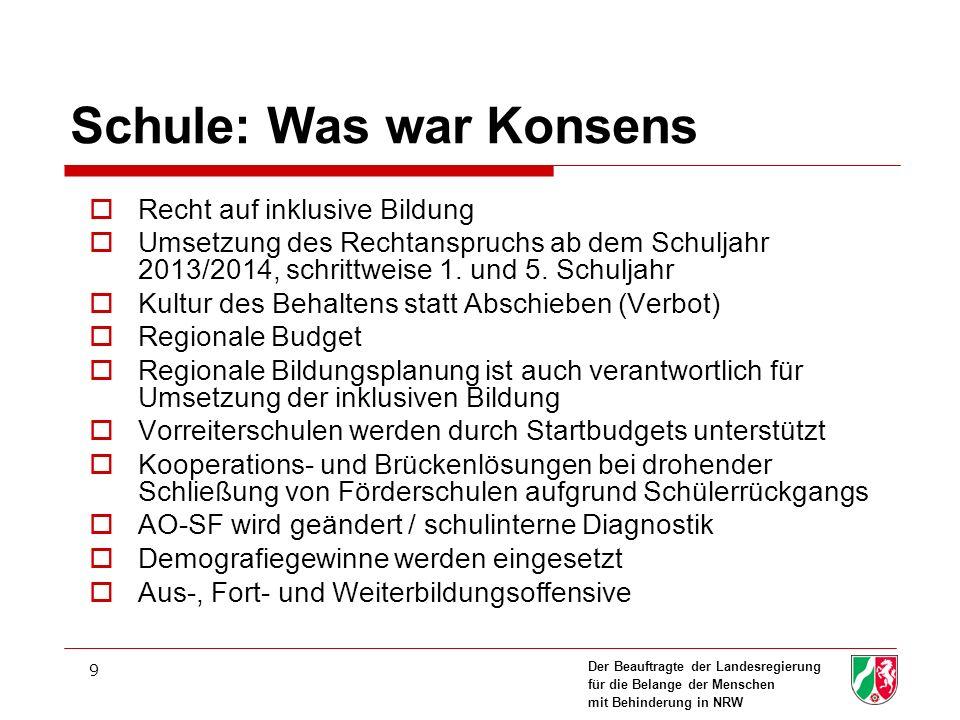Der Beauftragte der Landesregierung für die Belange der Menschen mit Behinderung in NRW 9 Schule: Was war Konsens Recht auf inklusive Bildung Umsetzun