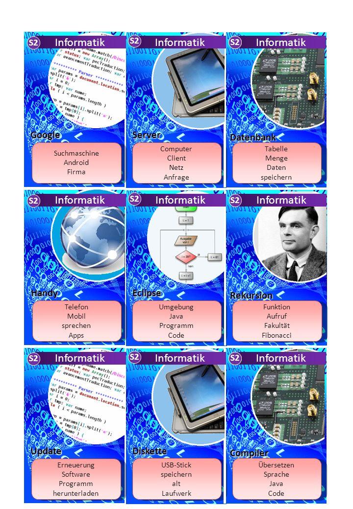 Zufallszahl Variable vordefiniert Programmierung Projekt Variable vordefiniert Programmierung Projekt I-Pad Android Touchscreen I-Pad Android Touchscreen Modell Syntax Ablauf Algorithmus Modell Syntax Ablauf Algorithmus Informatik S2 Informatik S2 Tablet Struktogramm Informatik S2 Modellierung ER-Diagramm UML Klassendiagramm Syntax ER-Diagramm UML Klassendiagramm Syntax deterministisch nicht-deterministisch Eingabealphabet Zustand deterministisch nicht-deterministisch Eingabealphabet Zustand Schutz Viren hacken Schutz Viren hacken S2 Automaten Firewall Browser world wide web Internet anzeigen Firefox world wide web Internet anzeigen Firefox Turing-Maschine Berechenbarkeit Band Informatiker Turing-Maschine Berechenbarkeit Band Informatiker while for Wiederholung Variable while for Wiederholung Variable Informatik S2 Informatik S2 Alan Turing Schleifen Informatik S2 Informatik S2 Informatik S2