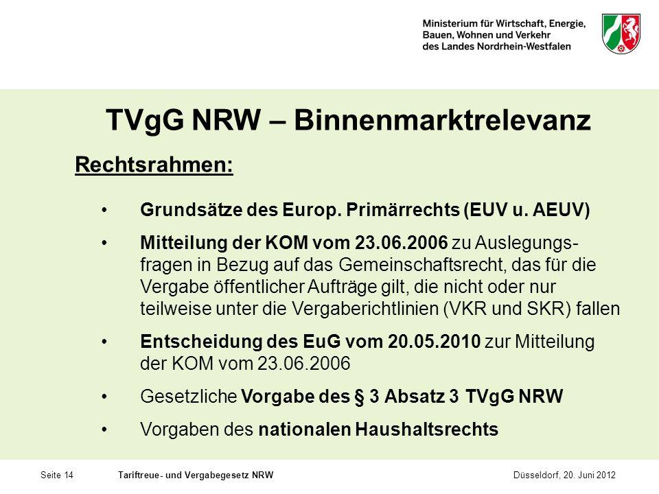 Seite 14Tariftreue- und Vergabegesetz NRWDüsseldorf, 20. Juni 2012 TVgG NRW – Binnenmarktrelevanz Rechtsrahmen: Grundsätze des Europ. Primärrechts (EU