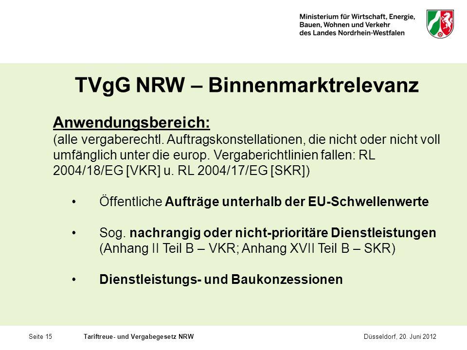 Seite 15Tariftreue- und Vergabegesetz NRWDüsseldorf, 20. Juni 2012 TVgG NRW – Binnenmarktrelevanz Anwendungsbereich: (alle vergaberechtl. Auftragskons