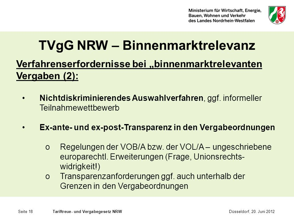 Seite 18Tariftreue- und Vergabegesetz NRWDüsseldorf, 20. Juni 2012 TVgG NRW – Binnenmarktrelevanz Verfahrenserfordernisse bei binnenmarktrelevanten Ve