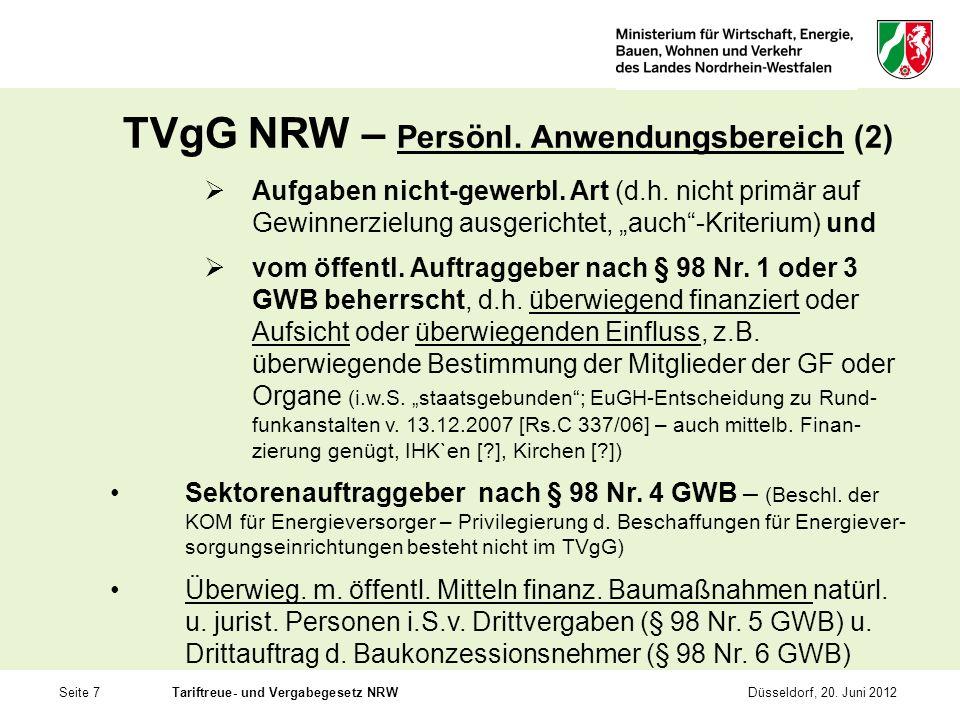 Seite 7Tariftreue- und Vergabegesetz NRWDüsseldorf, 20. Juni 2012 TVgG NRW – Persönl. Anwendungsbereich (2) Aufgaben nicht-gewerbl. Art (d.h. nicht pr