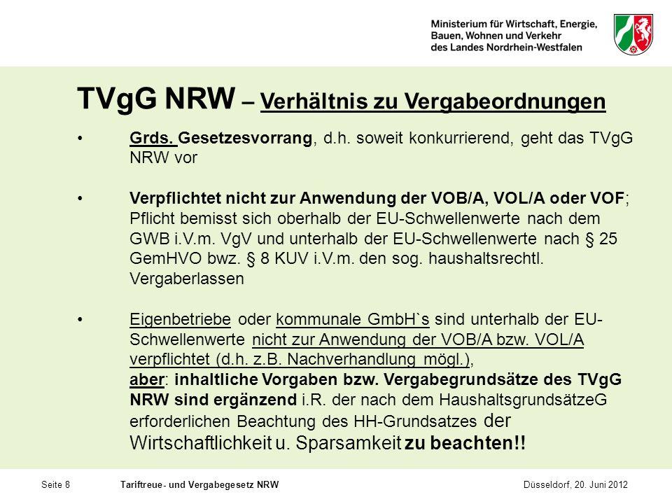 Seite 8Tariftreue- und Vergabegesetz NRWDüsseldorf, 20. Juni 2012 TVgG NRW – Verhältnis zu Vergabeordnungen Grds. Gesetzesvorrang, d.h. soweit konkurr