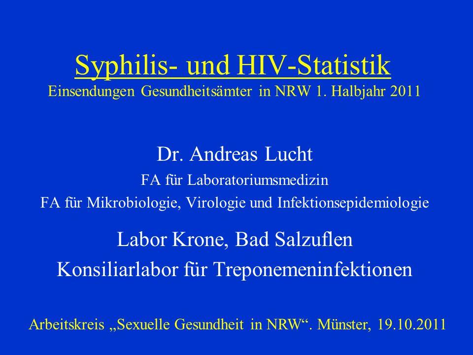 Syphilis- und HIV-Statistik Einsendungen Gesundheitsämter in NRW 1. Halbjahr 2011 Dr. Andreas Lucht FA für Laboratoriumsmedizin FA für Mikrobiologie,
