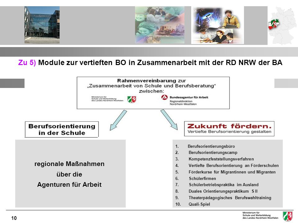 10 Zu 5) Module zur vertieften BO in Zusammenarbeit mit der RD NRW der BA 1. Berufsorientierungsbüro 2. Berufsorientierungscamp 3. Kompetenzfeststellu