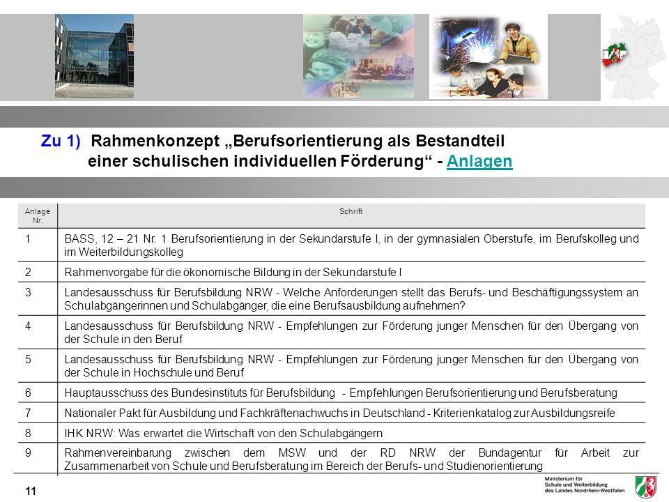 11 Zu 1) Rahmenkonzept Berufsorientierung als Bestandteil einer schulischen individuellen Förderung - AnlagenAnlagen Anlage Nr. Schrift 1BASS, 12 – 21