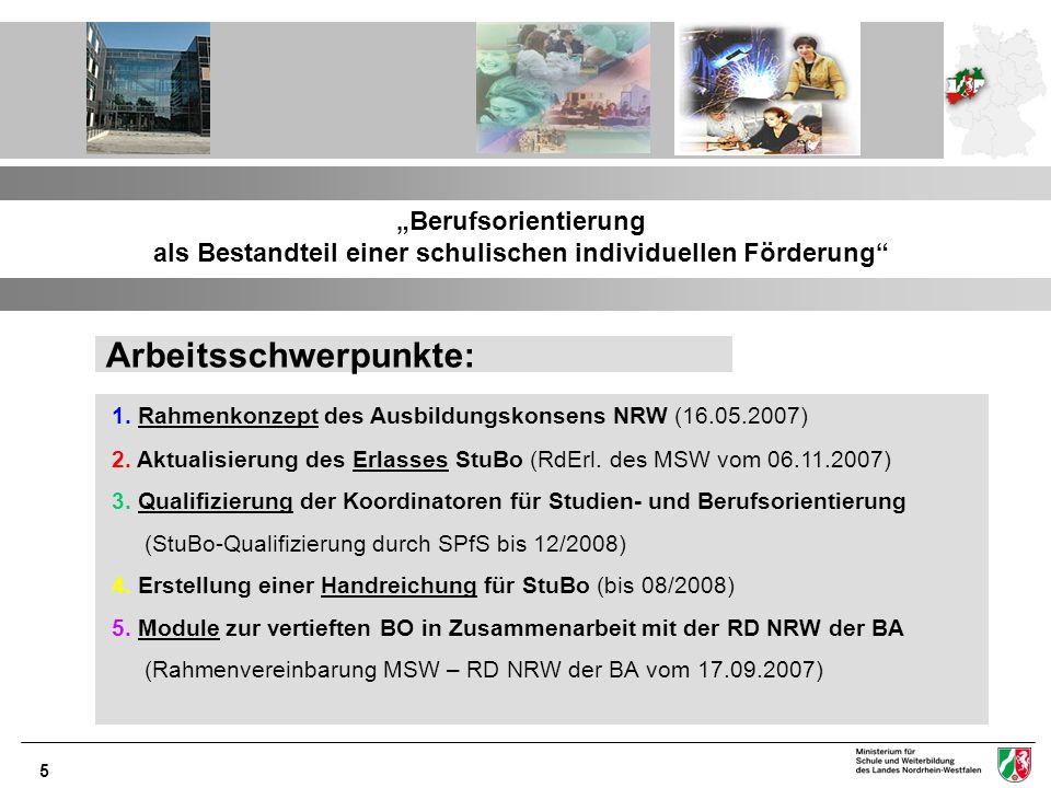 5 Berufsorientierung als Bestandteil einer schulischen individuellen Förderung Arbeitsschwerpunkte: 1. Rahmenkonzept des Ausbildungskonsens NRW (16.05