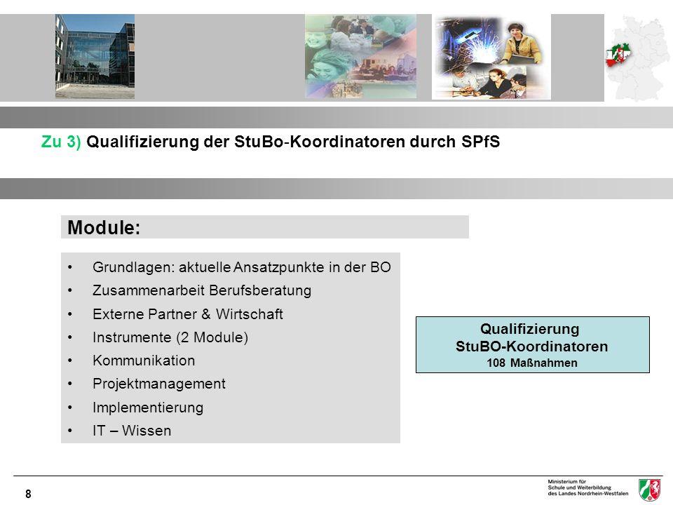 8 Zu 3) Qualifizierung der StuBo-Koordinatoren durch SPfS Module: Grundlagen: aktuelle Ansatzpunkte in der BO Zusammenarbeit Berufsberatung Externe Pa