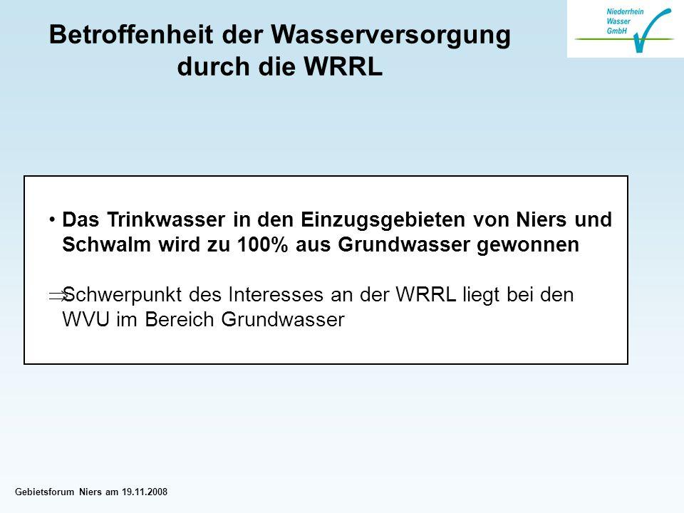 Gebietsforum Niers am 19.11.2008 Betroffenheit der Wasserversorgung durch die WRRL Das Trinkwasser in den Einzugsgebieten von Niers und Schwalm wird zu 100% aus Grundwasser gewonnen Schwerpunkt des Interesses an der WRRL liegt bei den WVU im Bereich Grundwasser