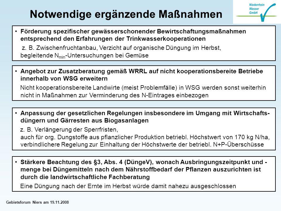 Gebietsforum Niers am 19.11.2008 Notwendige ergänzende Maßnahmen Angebot zur Zusatzberatung gemäß WRRL auf nicht kooperationsbereite Betriebe innerhalb von WSG erweitern Nicht kooperationsbereite Landwirte (meist Problemfälle) in WSG werden sonst weiterhin nicht in Maßnahmen zur Verminderung des N-Eintrages einbezogen Förderung spezifischer gewässerschonender Bewirtschaftungsmaßnahmen entsprechend den Erfahrungen der Trinkwasserkooperationen z.