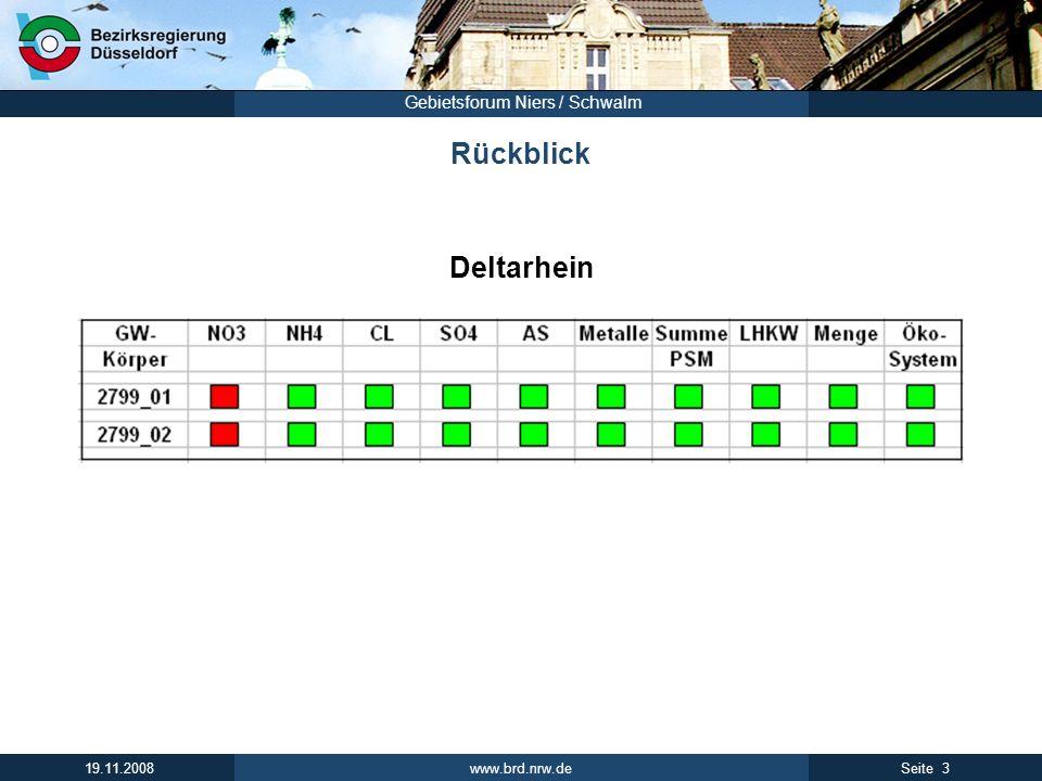 www.brd.nrw.de 14Seite 19.11.2008 Gebietsforum Niers / Schwalm Priorisierung von Beratungsflächen Beispiel Bewertungsmatrix PunktePriorität 9 – 13 I 5 – 9 II 3 – 5 III