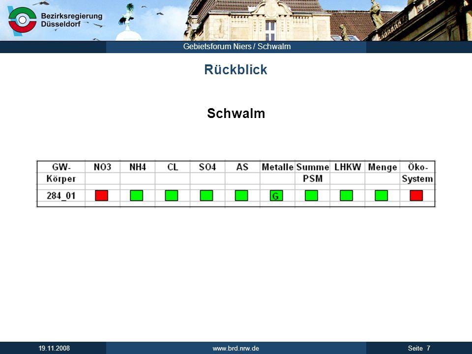 www.brd.nrw.de 7Seite 19.11.2008 Gebietsforum Niers / Schwalm Rückblick Schwalm