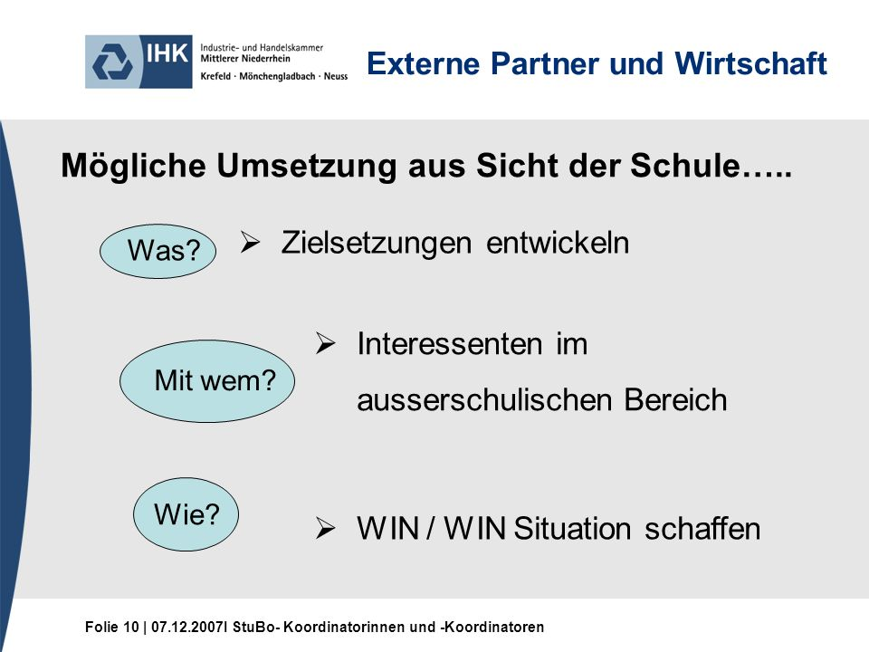 Folie 10 | 07.12.2007I StuBo- Koordinatorinnen und -Koordinatoren Externe Partner und Wirtschaft Mögliche Umsetzung aus Sicht der Schule…..