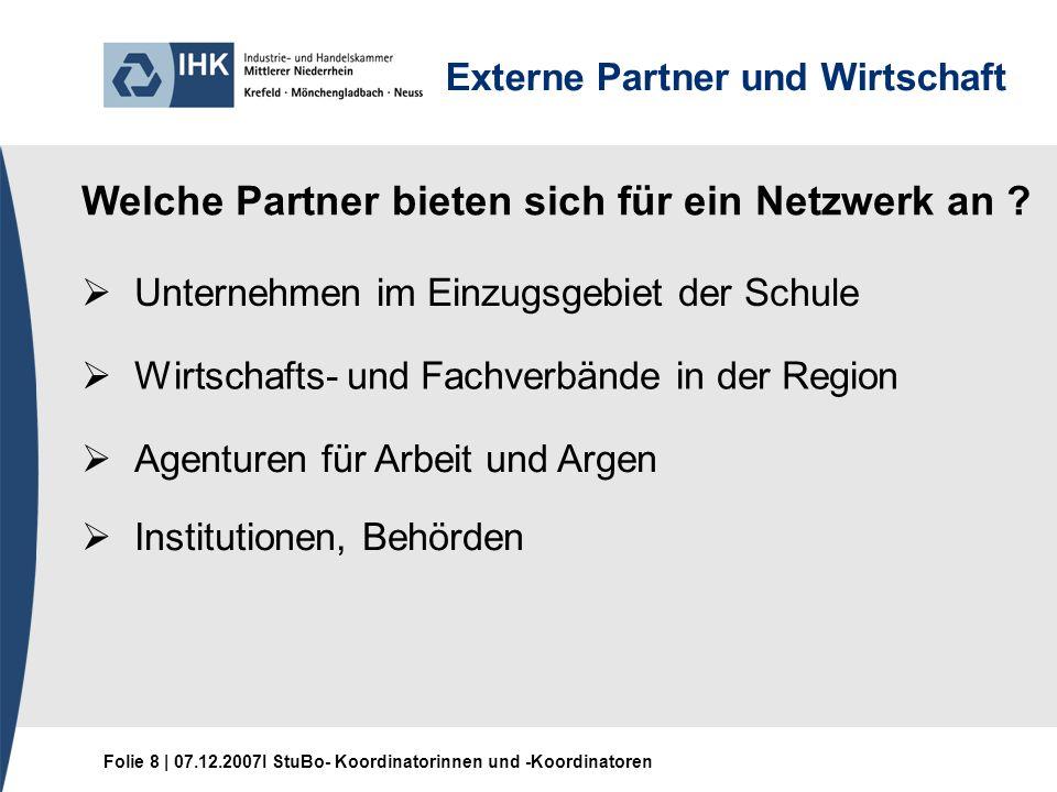 Folie 8 | 07.12.2007I StuBo- Koordinatorinnen und -Koordinatoren Externe Partner und Wirtschaft Welche Partner bieten sich für ein Netzwerk an .