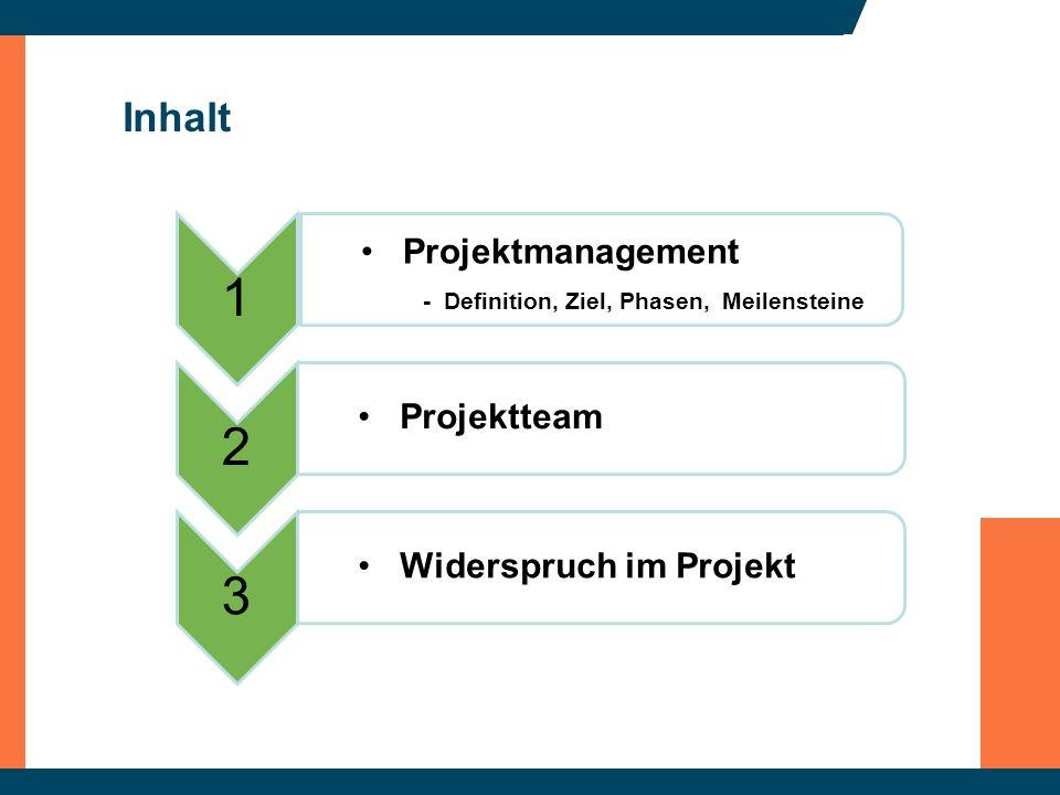 Inhalt 1 Projektmanagement - Definition, Ziel, Phasen, Meilensteine 2 Projektteam 3 Widerspruch im Projekt