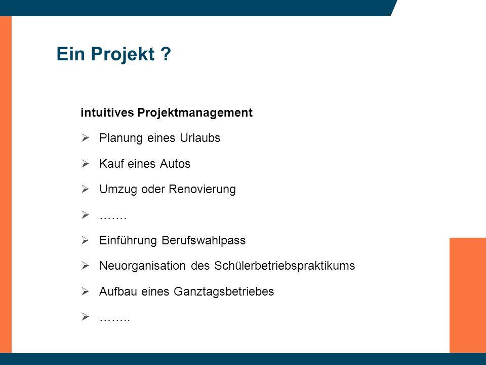 Ein Projekt ? intuitives Projektmanagement Planung eines Urlaubs Kauf eines Autos Umzug oder Renovierung ……. Einführung Berufswahlpass Neuorganisation
