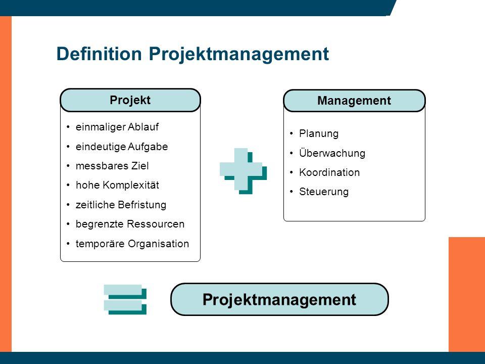 Definition Projektmanagement Planung Überwachung Koordination Steuerung Management einmaliger Ablauf eindeutige Aufgabe messbares Ziel hohe Komplexitä