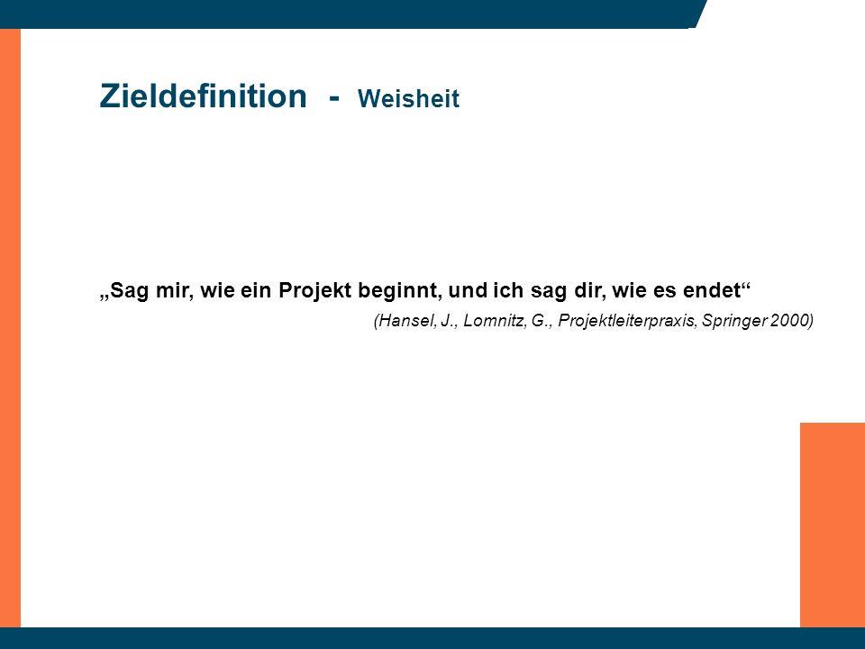 Zieldefinition - Weisheit Sag mir, wie ein Projekt beginnt, und ich sag dir, wie es endet (Hansel, J., Lomnitz, G., Projektleiterpraxis, Springer 2000