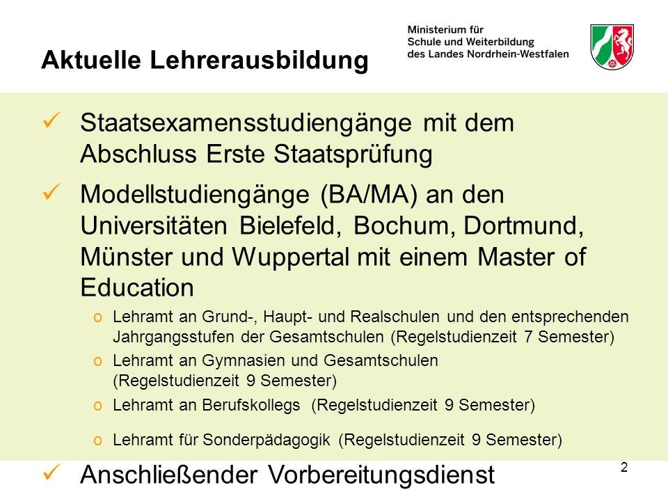 2 Aktuelle Lehrerausbildung Staatsexamensstudiengänge mit dem Abschluss Erste Staatsprüfung Modellstudiengänge (BA/MA) an den Universitäten Bielefeld, Bochum, Dortmund, Münster und Wuppertal mit einem Master of Education oLehramt an Grund-, Haupt- und Realschulen und den entsprechenden Jahrgangsstufen der Gesamtschulen (Regelstudienzeit 7 Semester) oLehramt an Gymnasien und Gesamtschulen (Regelstudienzeit 9 Semester) oLehramt an Berufskollegs (Regelstudienzeit 9 Semester) oLehramt für Sonderpädagogik (Regelstudienzeit 9 Semester) Anschließender Vorbereitungsdienst