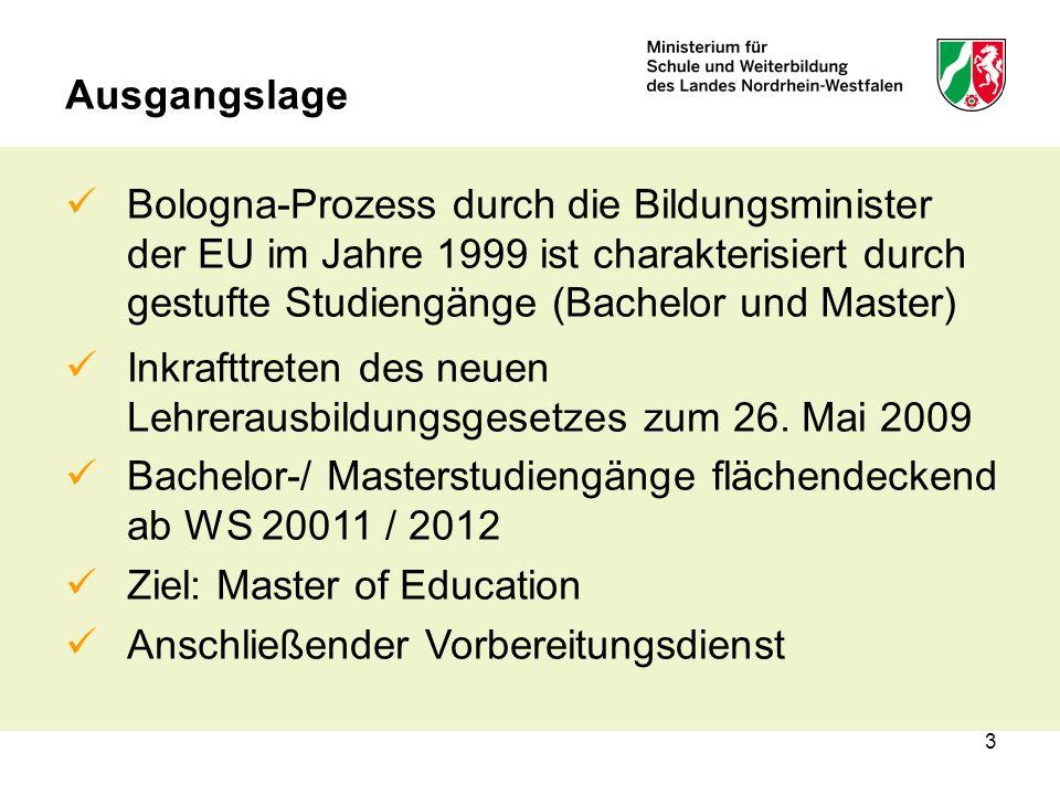 3 Ausgangslage Bologna-Prozess durch die Bildungsminister der EU im Jahre 1999 ist charakterisiert durch gestufte Studiengänge (Bachelor und Master) Inkrafttreten des neuen Lehrerausbildungsgesetzes zum 26.