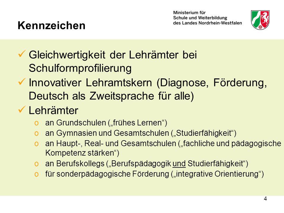 4 Kennzeichen Gleichwertigkeit der Lehrämter bei Schulformprofilierung Innovativer Lehramtskern (Diagnose, Förderung, Deutsch als Zweitsprache für all