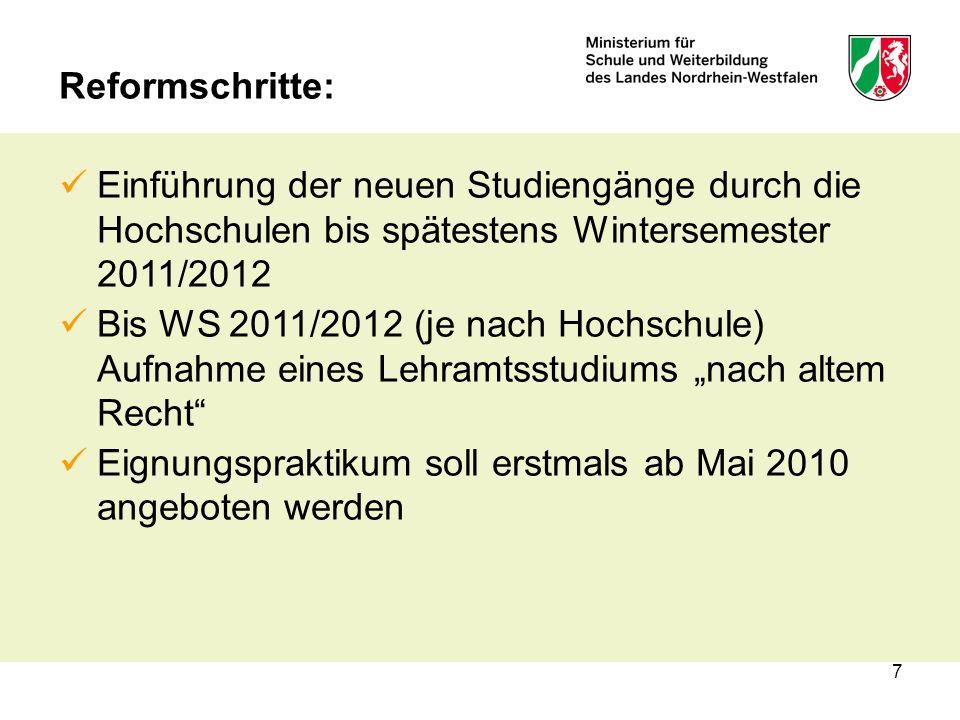7 Reformschritte: Einführung der neuen Studiengänge durch die Hochschulen bis spätestens Wintersemester 2011/2012 Bis WS 2011/2012 (je nach Hochschule