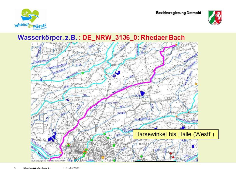 Bezirksregierung Detmold Rheda-Wiedenbrück319. Mai 2009 Wasserkörper, z.B.