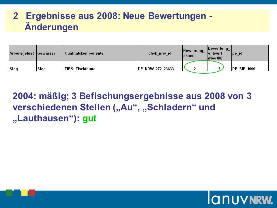 2 Ergebnisse aus 2008: Neue Bewertungen - Änderungen 2004: mäßig; 3 Befischungsergebnisse aus 2008 von 3 verschiedenen Stellen (Au, Schladern und Lauthausen): gut