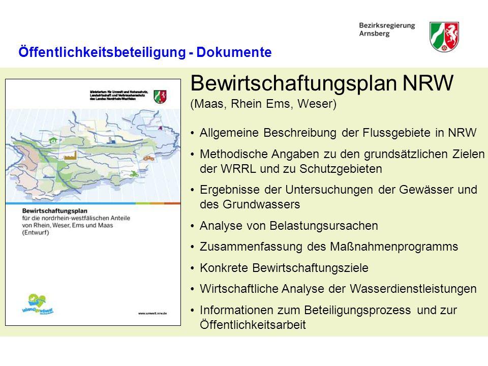 Bewirtschaftungsplan NRW (Maas, Rhein Ems, Weser) Allgemeine Beschreibung der Flussgebiete in NRW Methodische Angaben zu den grundsätzlichen Zielen de