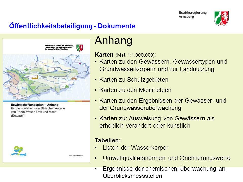 Öffentlichkeitsbeteiligung - Dokumente Maßnahmenprogramm Beschreibung der Maßnahmen zur Minderung stofflicher Belastungen Beschreibung von Maßnahmen zur ökologischen Gewässerentwicklung Karten im Mst.