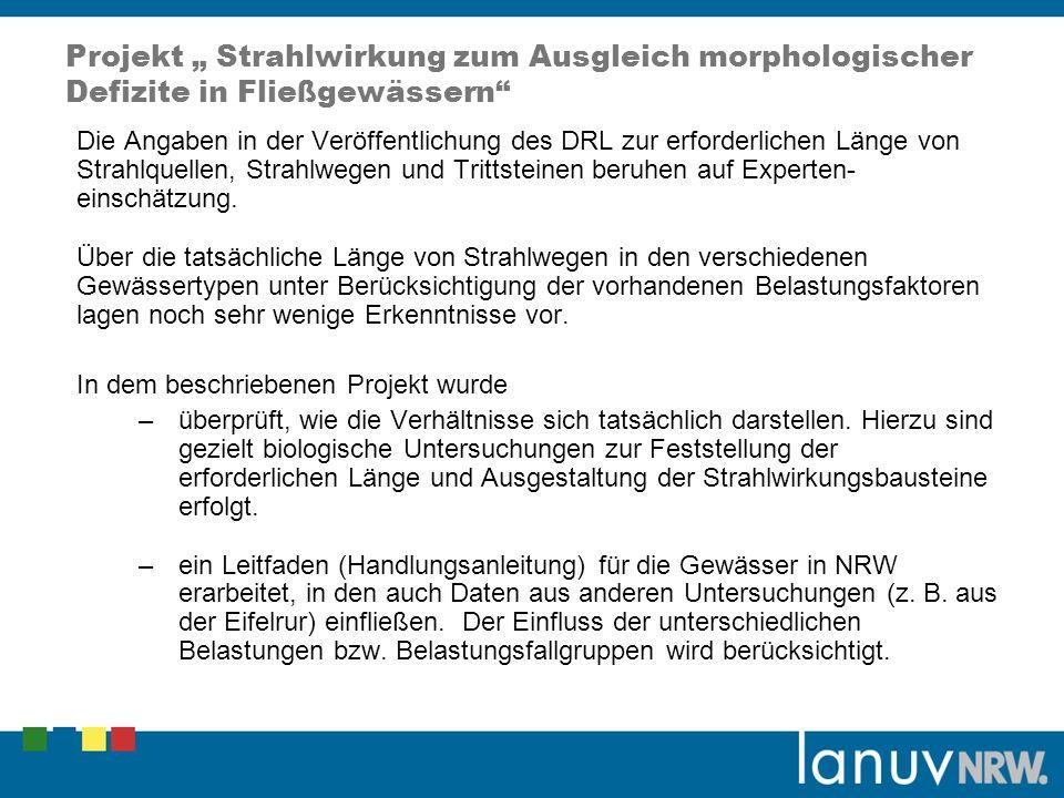 Projekt Strahlwirkung zum Ausgleich morphologischer Defizite in Fließgewässern Die Angaben in der Veröffentlichung des DRL zur erforderlichen Länge vo