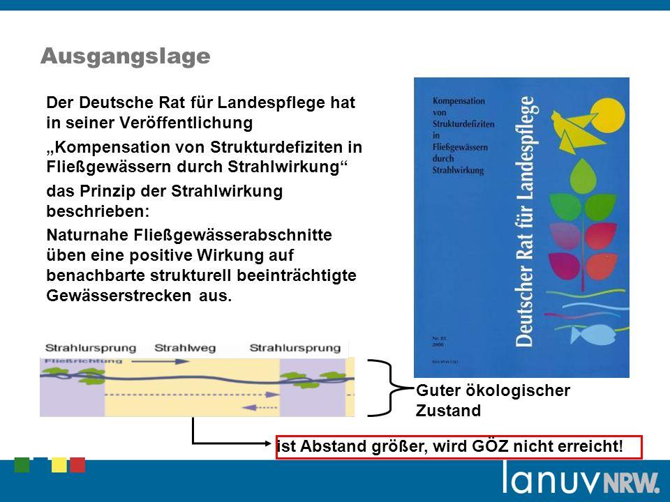 Ausgangslage Der Deutsche Rat für Landespflege hat in seiner Veröffentlichung Kompensation von Strukturdefiziten in Fließgewässern durch Strahlwirkung