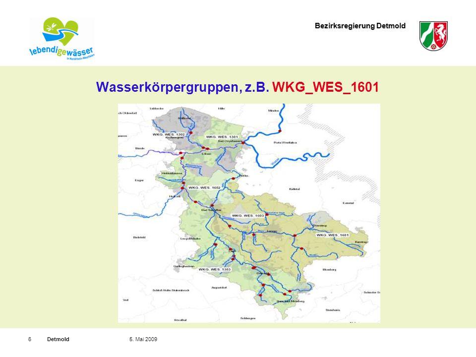 Bezirksregierung Detmold Detmold75.Mai 2009 Wasserkörper, z.B.