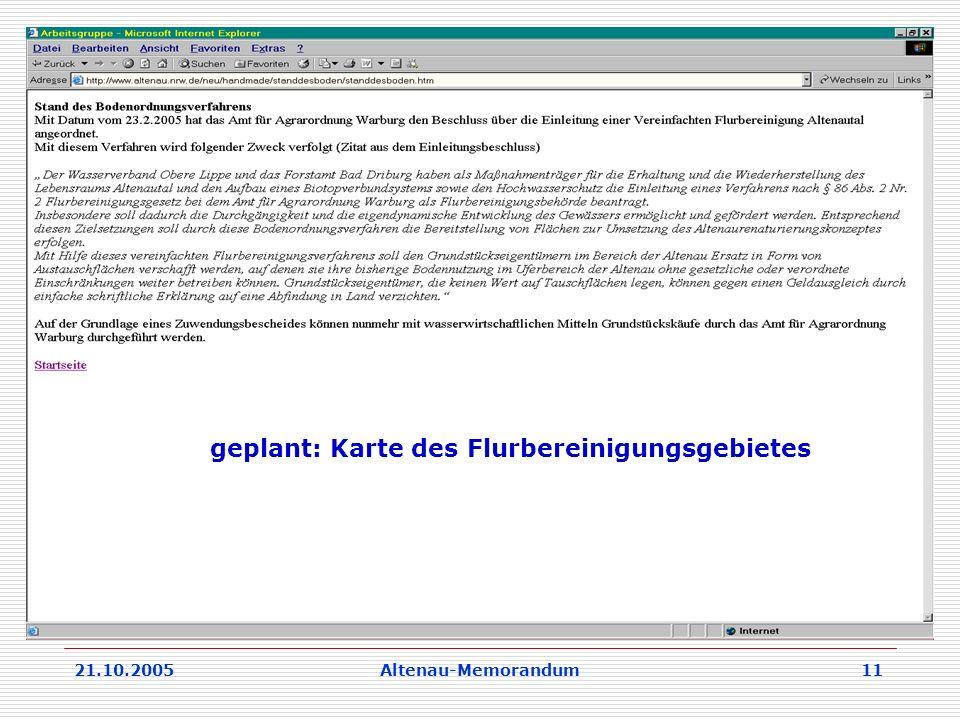 21.10.2005Altenau-Memorandum 11 geplant: Karte des Flurbereinigungsgebietes