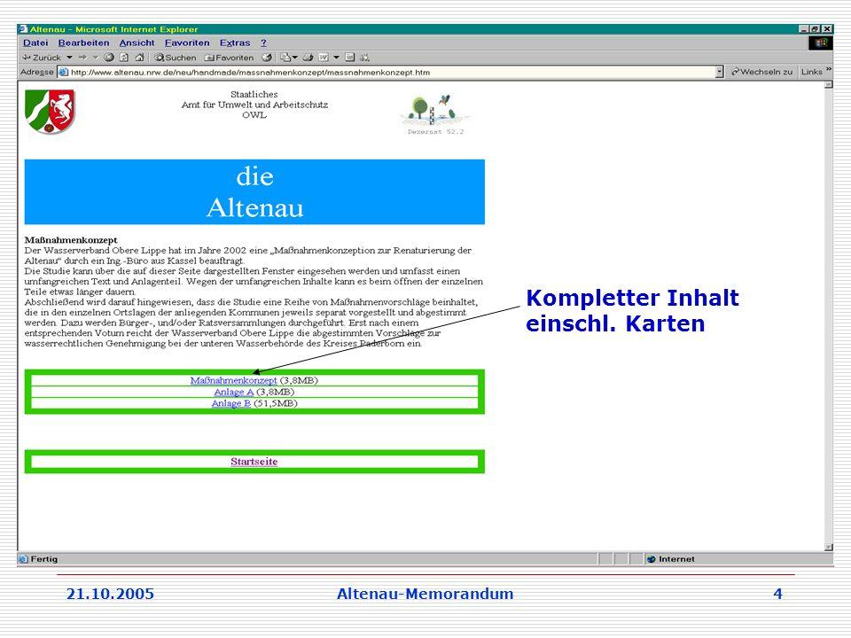 21.10.2005Altenau-Memorandum 4 Kompletter Inhalt einschl. Karten