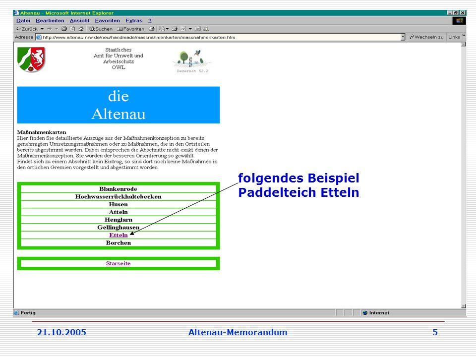 21.10.2005Altenau-Memorandum 5 folgendes Beispiel Paddelteich Etteln